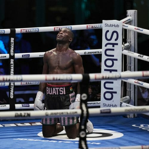 Joshua Buatsi vs Richard Bolotniks, WBA International Light-Heavyweight Title, Brentwood, Essex. 14 August 2021 Picture By Mark Robinson Matchroom Boxing Joshua Buatsi looks to the sky after  knocking Richard Bolotniks out in the 11th rd