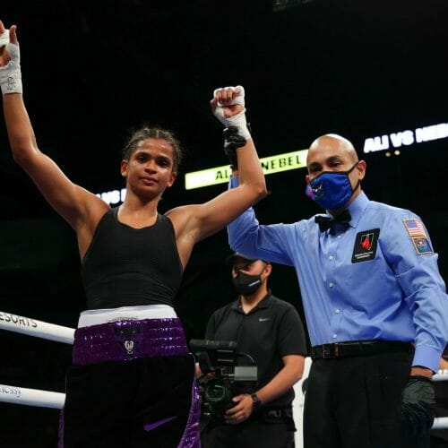 May 29, 2021; Las Vegas, Nevada; Ramla Ali and Mikayla Nebel during their fight at the Michelob Ultra Arena at Mandalay Bay in Las Vegas, Nevada. Mandatory Credit: Ed Mulholland/Matchroom.